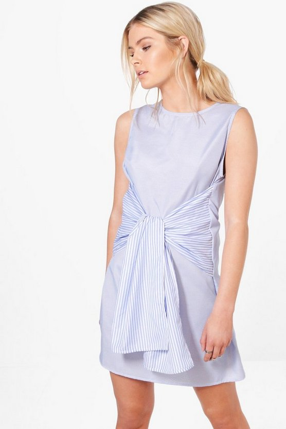 Elsie Mixed Stripe Tie Front Shift Dress