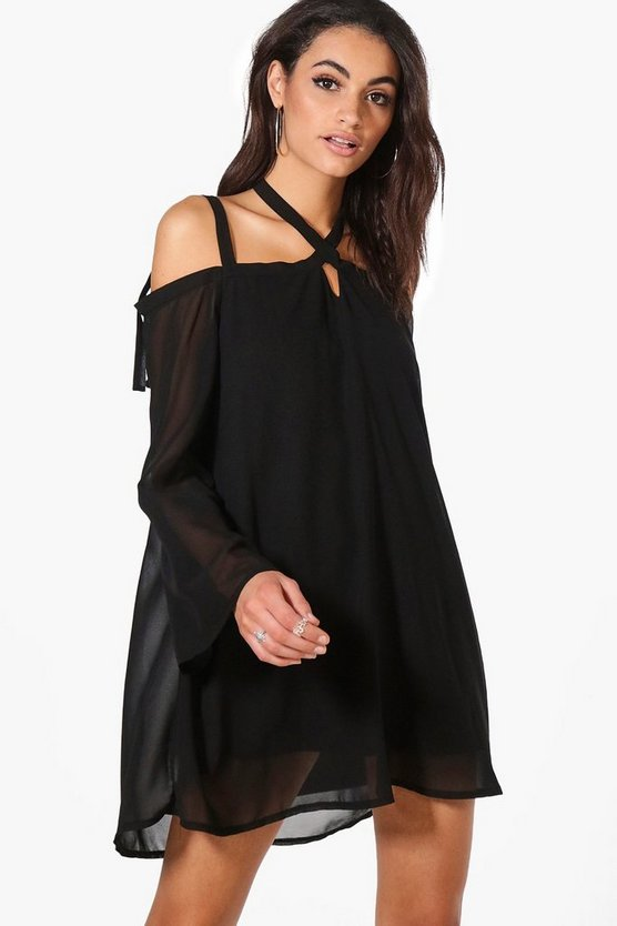 Rhea Cold Shoulder Tie Detail Shift Dress