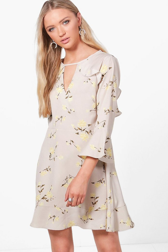 Bianca Floral Ruffle Tie Back Skater Dress