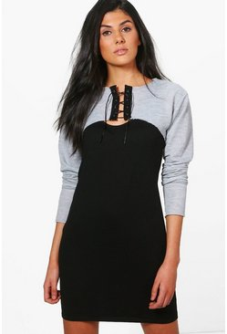 Danielle Printed Lace Up Sweat Shift Dress