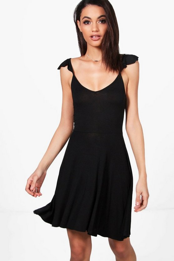 Immie Ruffle Strap Tie Back Skater Dress