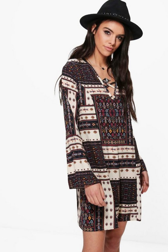 Emiko Bohemien Print V Front Shift Dress