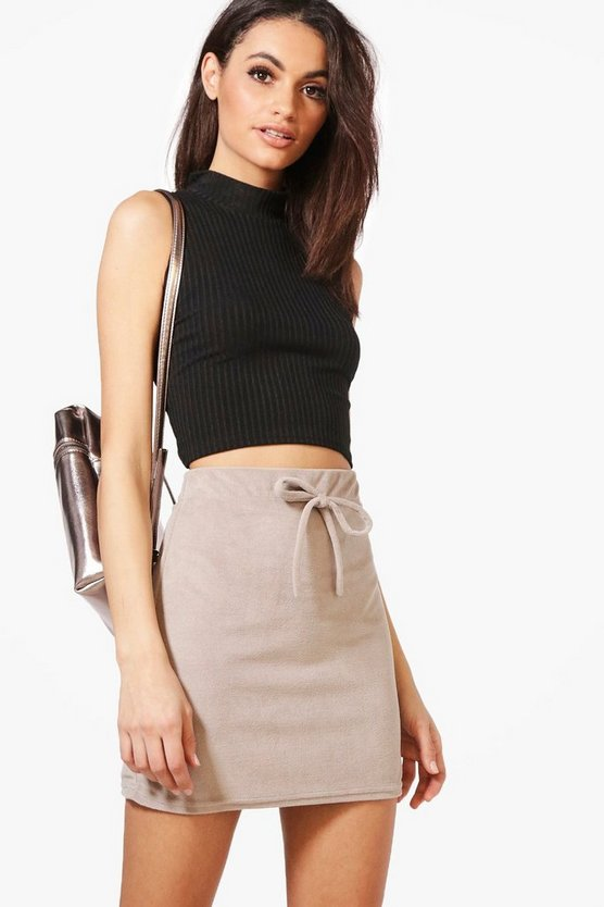 Geneva Velour Basic Tie Waist Mini Skirt