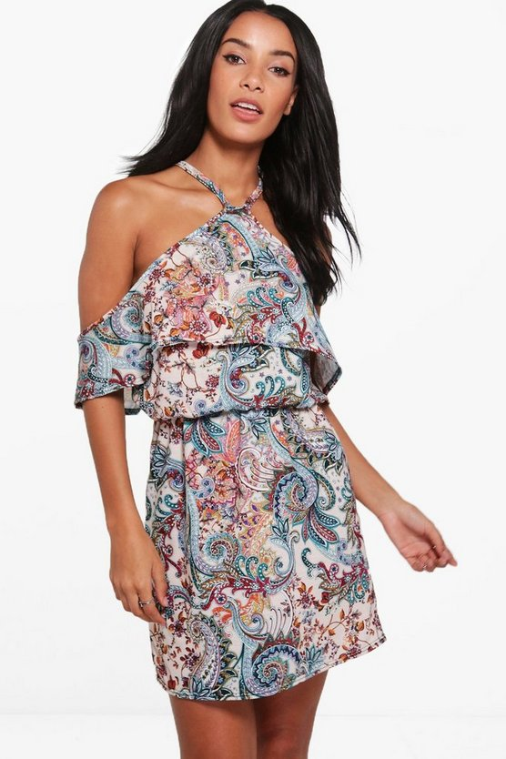 Oana Cold Shoulder Ruffle Skater Dress