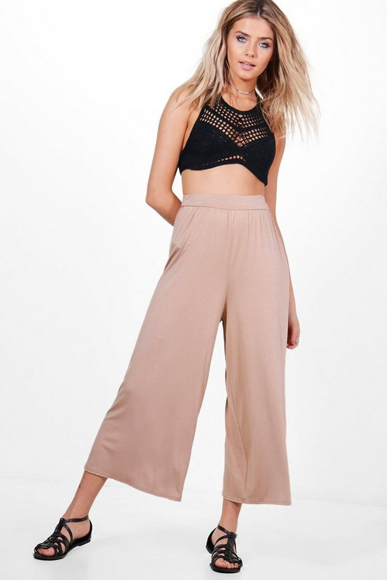 India Basic Jersey Wide Leg Culottes