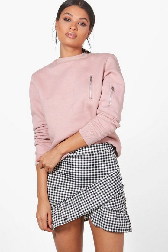 Drop Hem Gingham Mini Skirt