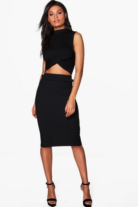 Adrianna Ribbed Ruffle Detail Midi Skirt