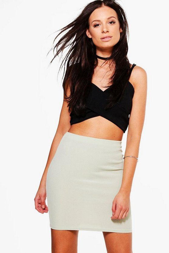 Melina Ribbed Basic Mini Skirt