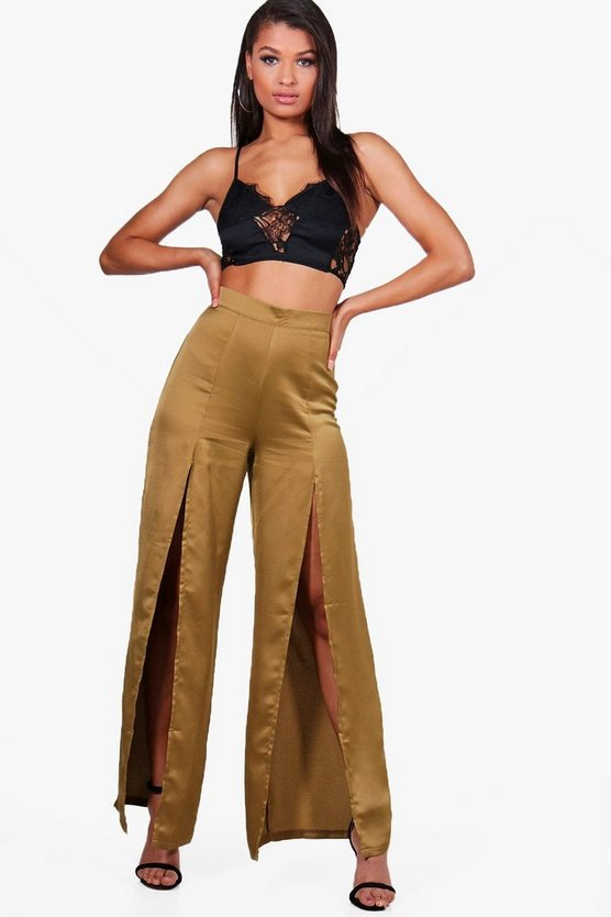 Thalia Front Split Wide Leg Luxe Crepe Trousers