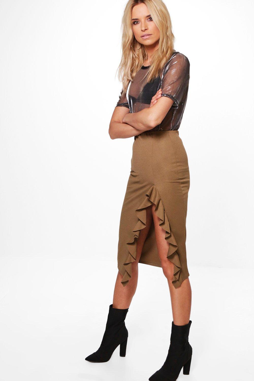 Ruffle Split Midi Skirt  khaki