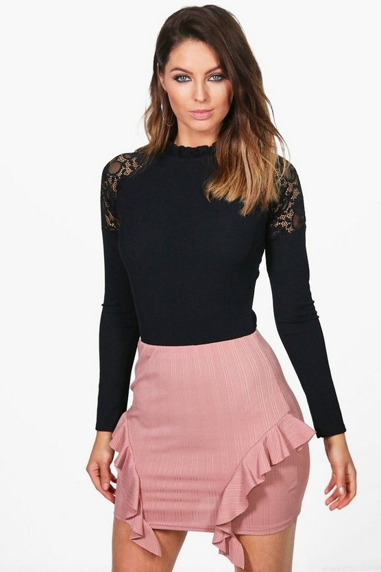 Sofia Ribbed Ruffle Side Mini Skirt
