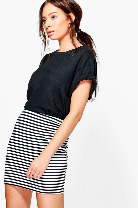 Noa Monochrome Stripe Mini Skirt