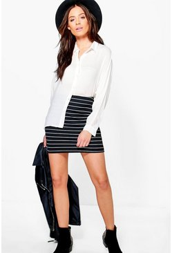 Maya Monochrome Rib Mini Skirt