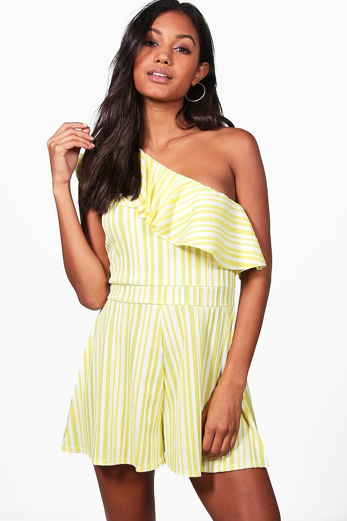 Claire Striped One Shoulder Frill Playsuit