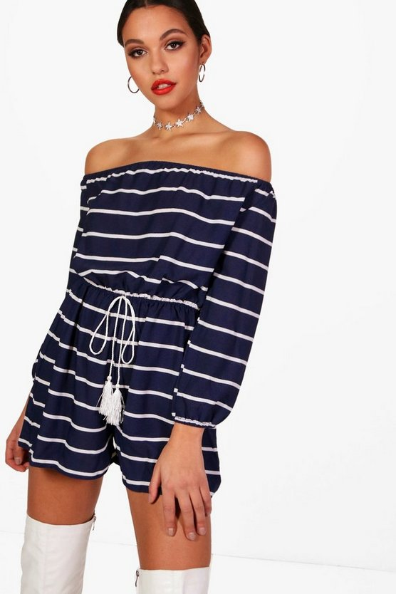 Hana Striped Off The Shoulder Playsuit