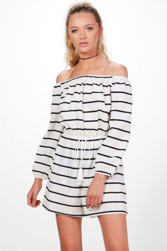 Jules Striped Off The Shoulder Playsuit