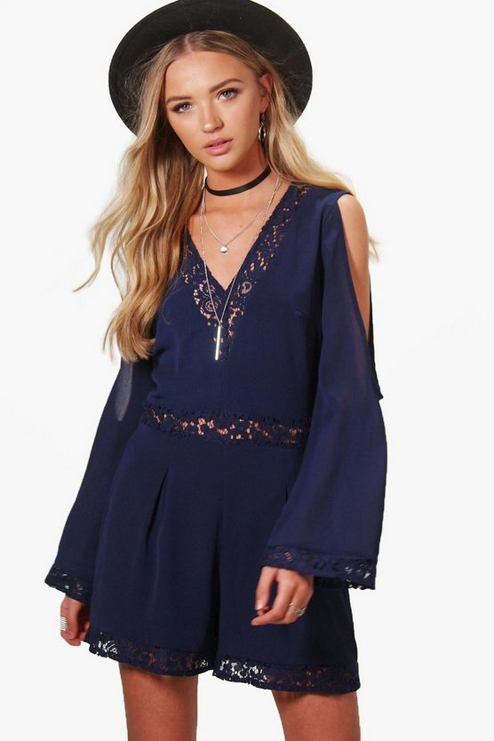 Keely Crochet Insert Split Sleeve Playsuit