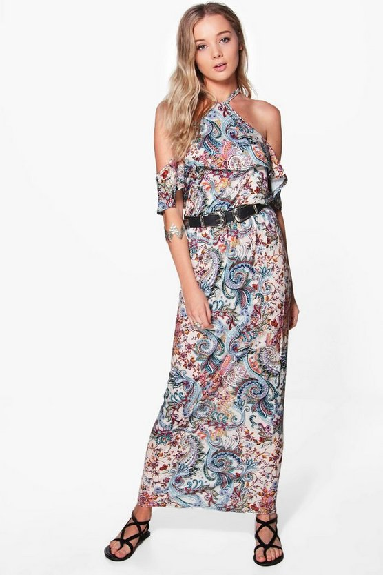 Cold Shoulder Ruffle Front Maxi Dress
