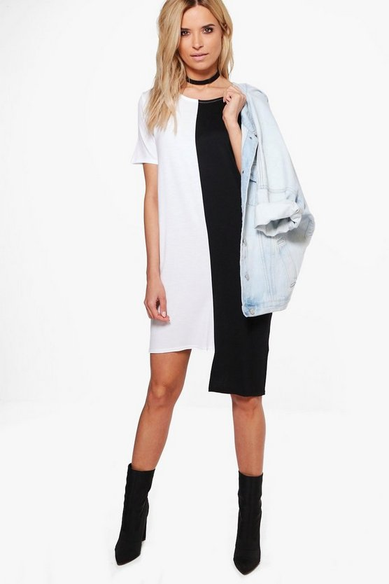 Maisy Stepped Hem Colour Block Shift Dress