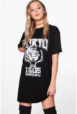 Mona Tokyo Tiger Distressed T-Shirt Dress