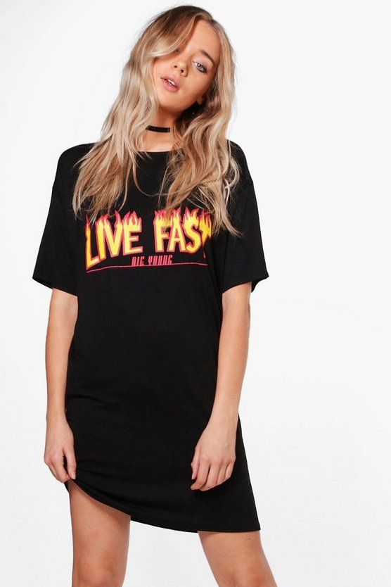 Fi Live Fast Printed Oversized T-Shirt Dress