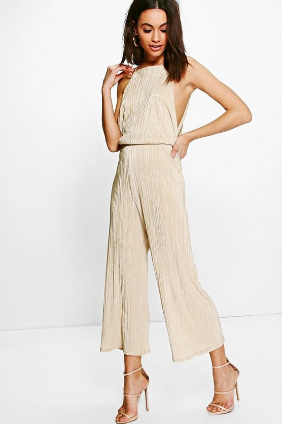Plisse Drop Arm Culotte Jumpsuit