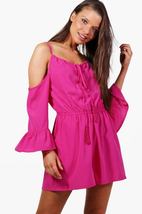 Rachel Open Shoulder Flute Sleeve Playsuit