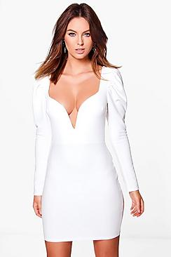 Eve Puff Sleeve Sweetheart Bodycon Dress
