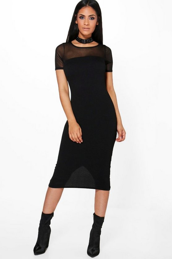 Fay Mesh Top Detail Midi Bodycon Dress