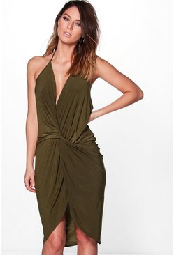 Devin Strappy Knot and Drape Midi Dress