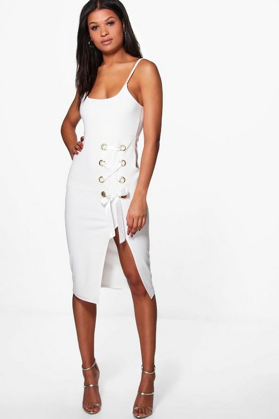 Ita Strappy Eyelet Lace Up Midi Dress