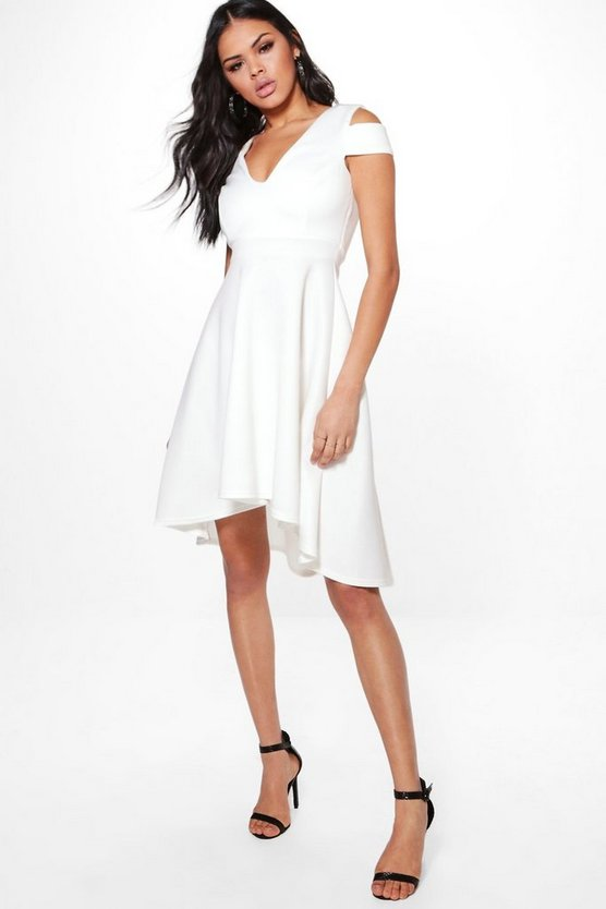 Clea Bardot Plunge Skater Dress