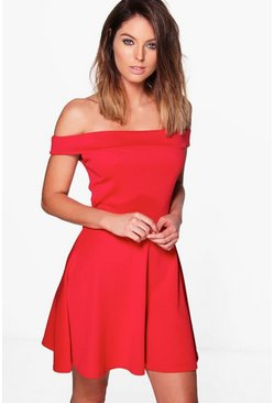 Greta Off Shoulder Skater Dress
