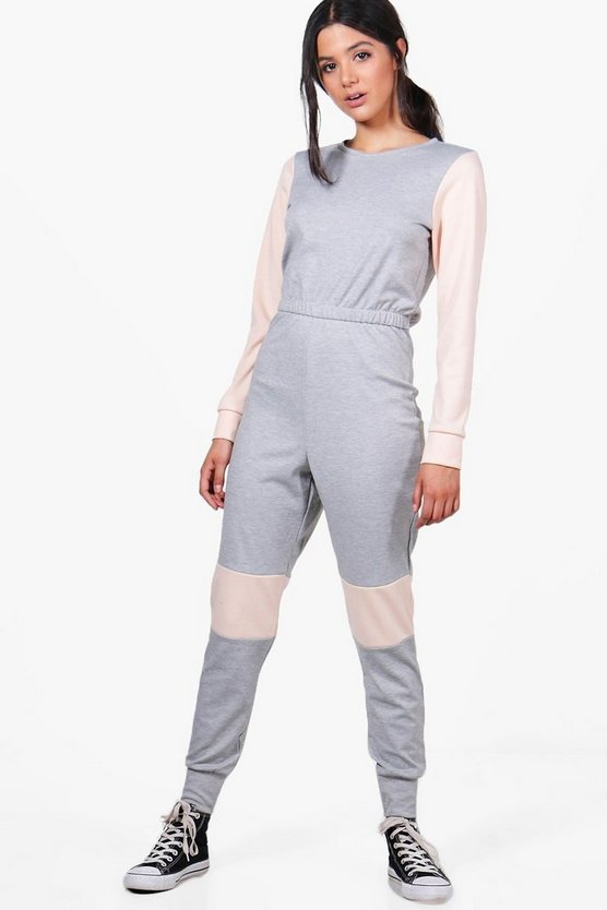 Edwina Colour Block Contrast Sweat Jumpsuit