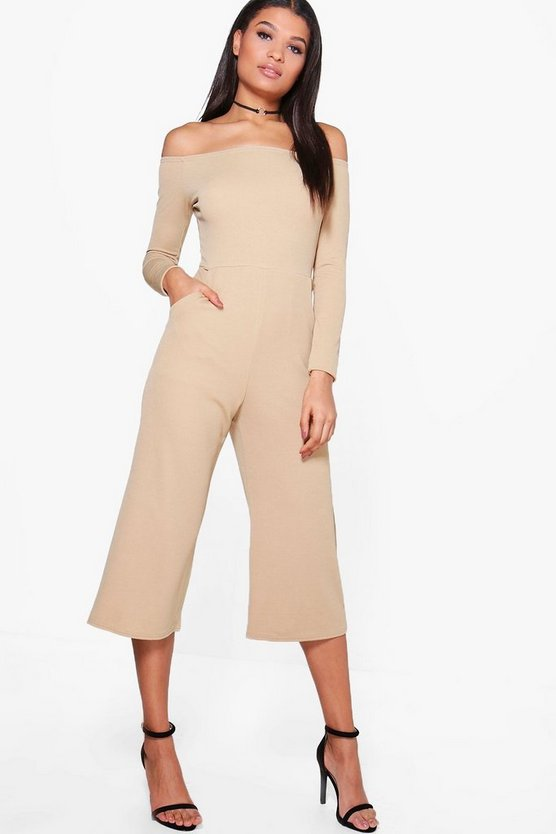 Lois Bardot Long Sleeve Wide Leg Culotte Jumpsuit