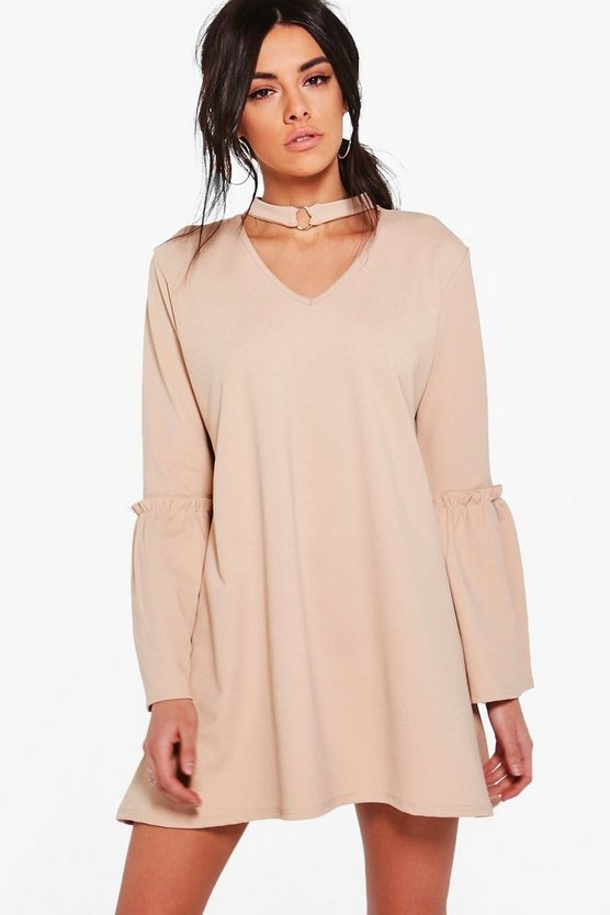 Lyla O-Ring Choker Flute Sleeve Swing Dress