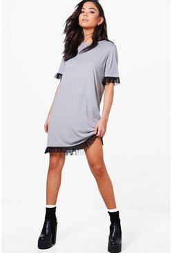 Marnie Mesh Ruffle T-Shirt Dress