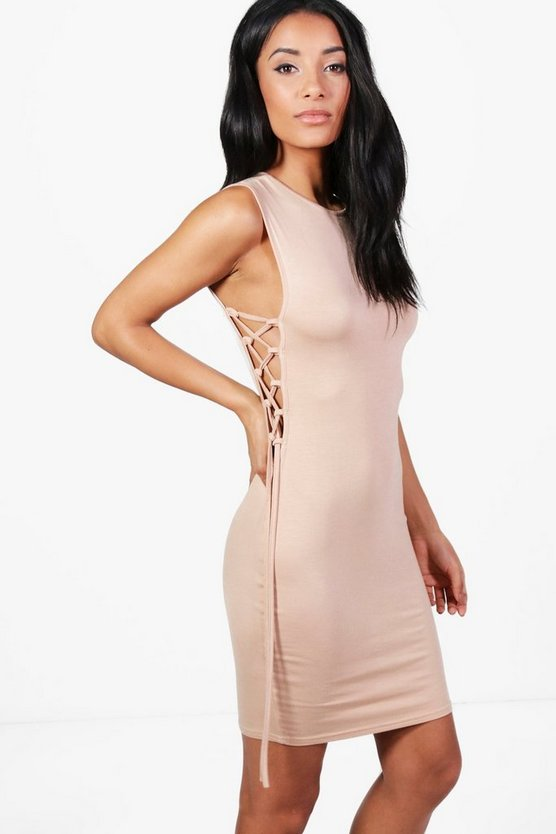 Amaris Lace Up Side Bodycon Dress