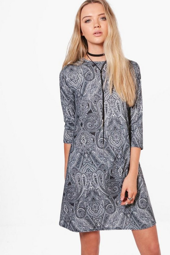 Coral Paisley 3/4 Sleeve Swing Dress