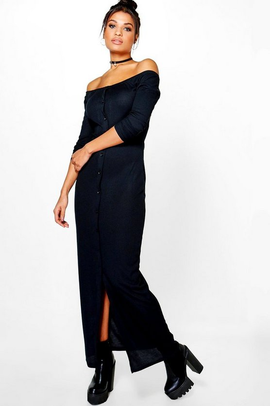 Penny Rib Button Off Shoulder Maxi Dress