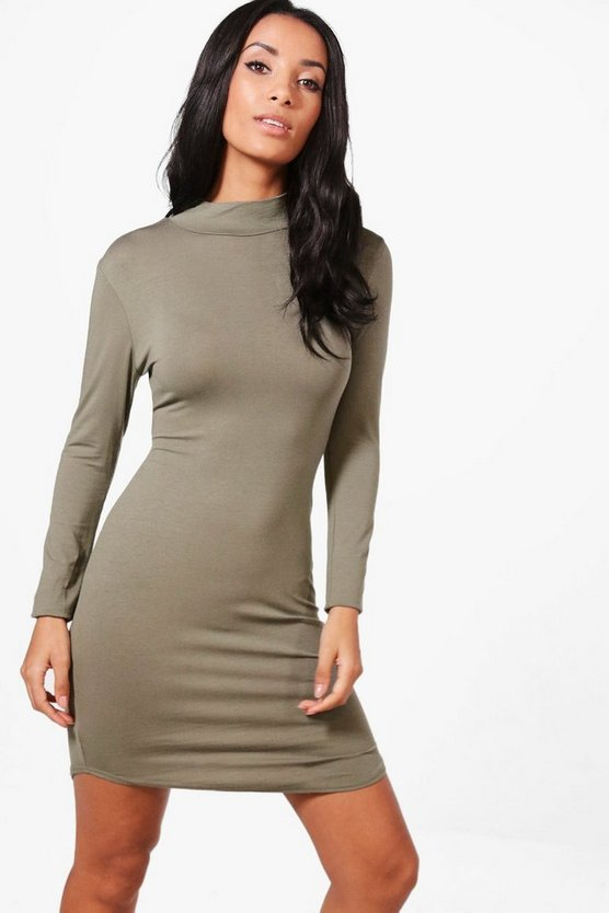 Reeva High Neck Curved Hem Bodycon Dress