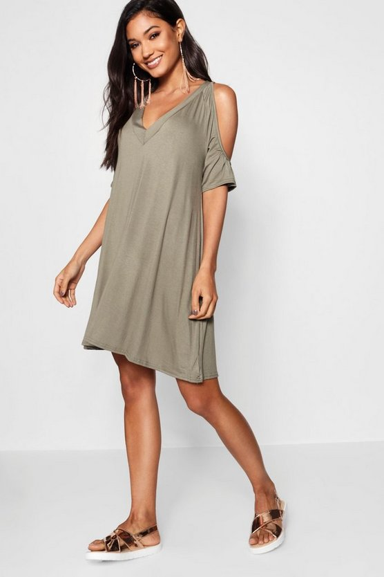 Leila Cold Shoulder Swing Dress