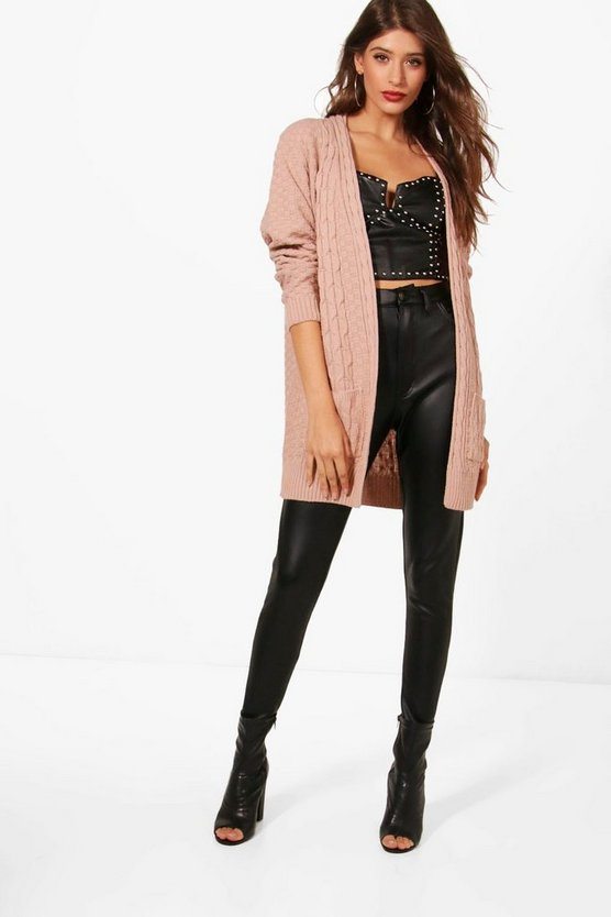 Hannah Contrast Cable & Waffle Knit Cardigan
