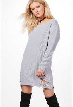 Emma Slash Neck Distressed Hem Jumper Dress