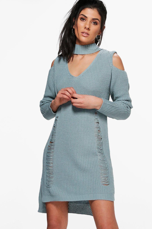 Choker Distressed Cold Shoulder Jumper Dress  blue