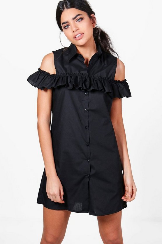 Alice Cold Shoulder Shirt Dress