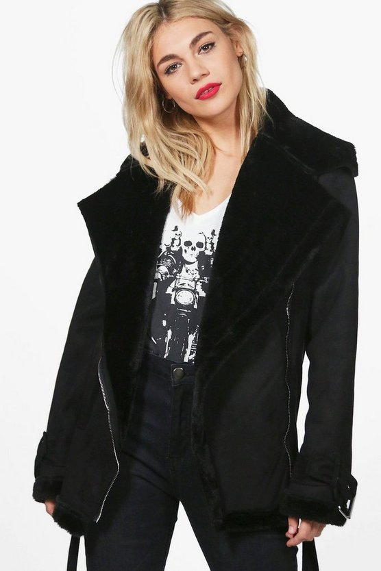 Melanie Faux Fur Lined Bonded Aviator Jacket