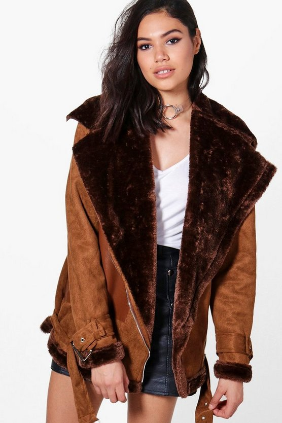 Brooke Faux Fur Lined Bonded Aviator Jacket