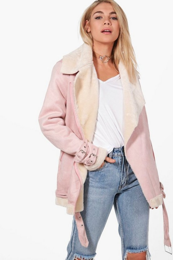 Lauren Faux Fur Lined Aviator Jacket