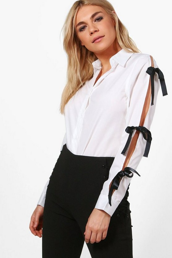 Bethany Contrast Tie Open Sleeve Shirt